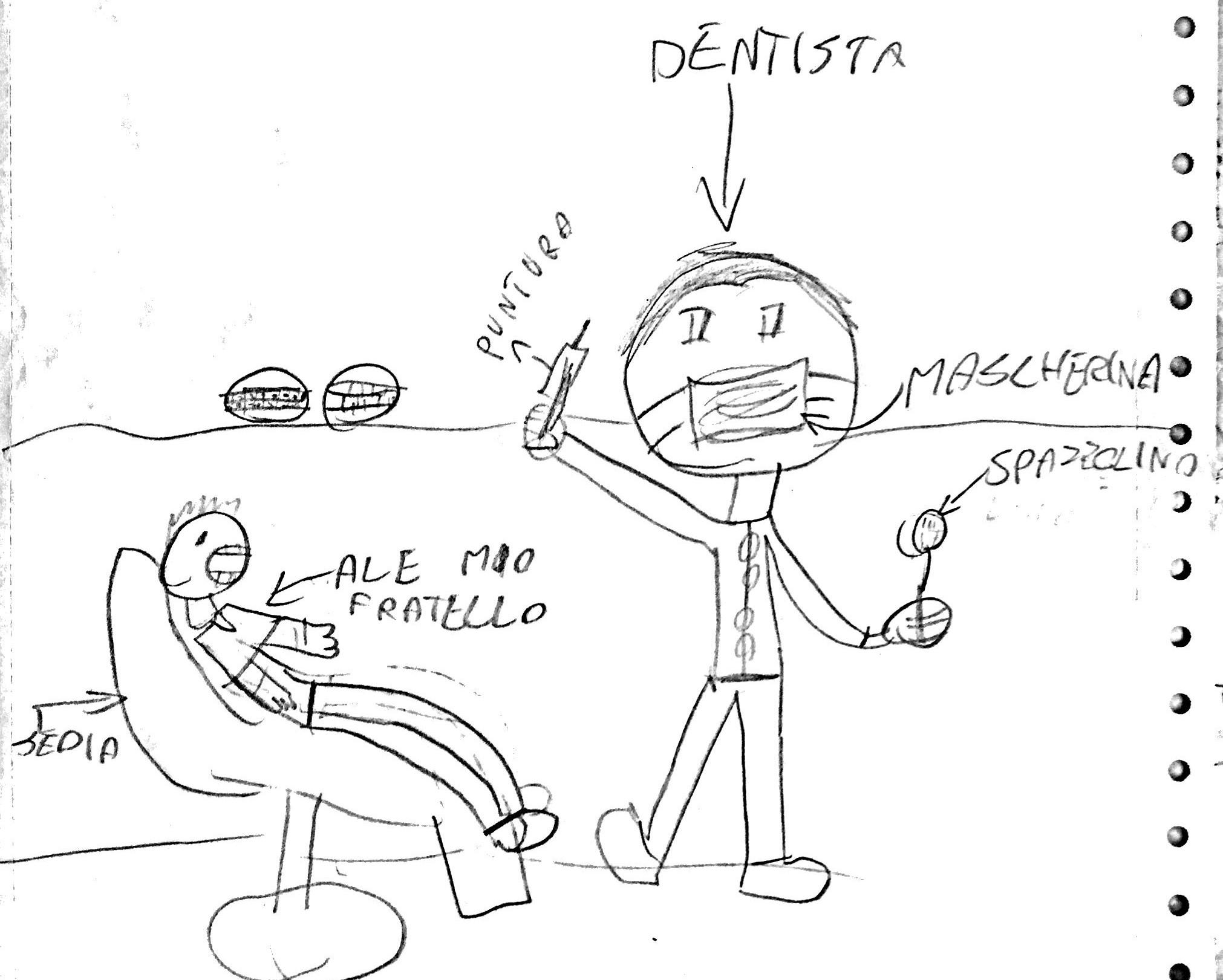 disegno a matita del dentista con il suo piccolo paziente